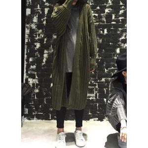 ロングカーディガン 長袖 ニット セーター カジュアル フリーサイズ グリーン カーキ ブラック グレー 秋 冬|g-c|04