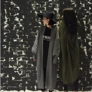 ロングカーディガン 長袖 ニット セーター カジュアル フリーサイズ グリーン カーキ ブラック グレー 秋 冬|g-c|10