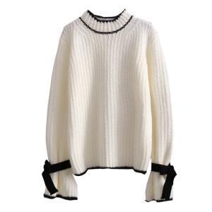 ハイネック ニット セーター トップス ライン リボン フリーサイズ ホワイト ブラウン ライトブルー 秋冬|g-c