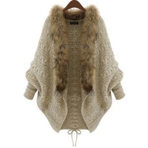 ドルマン カーディガン ファー ニット ジャケット コート 羽織り フリーサイズ ベージュ ブラウン 茶色 秋冬|g-c