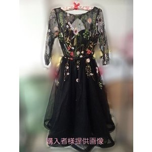 677a069b0e3e16 ... ワンピース ドレス 結婚式 パーティー ミニ丈 七分 シースルー 花柄 オーガンジー ブラック 黒 シャンパン