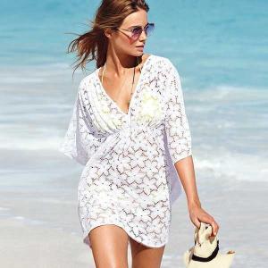 カバアップウェアーレース 透け感 ビーチワンピース 白 ホワイト 刺繍 サマードレス xaL-c518 g-c
