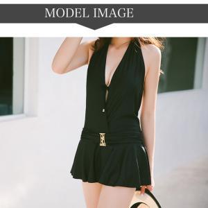 水着 レディース ワンピース 体型カバー シック 2 点セット エレガント ドレス|g-c|05