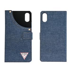 GUESSのトライアングルロゴが目を引くブック型iPhoneケース。デニム素材のオシャレなアイテム。...