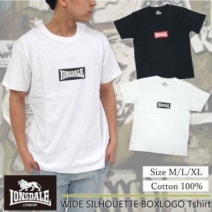 LONSDALE(ロンズデール)ワイドシルエット ボックスロゴ Tシャツ メンズ 半袖 ゆったりめ オーバーサイズ g-fine