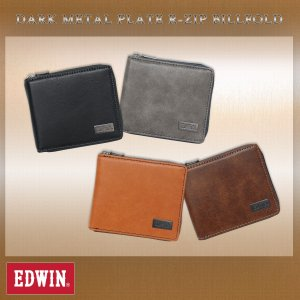 EDWIN(エドウイン)ダークメタルプレート ラウンドジップ 二つ折財布 g-fine