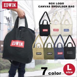 EDWIN(エドウイン)ボックスロゴ キャンバス ショルダー トートバッグ(L) g-fine