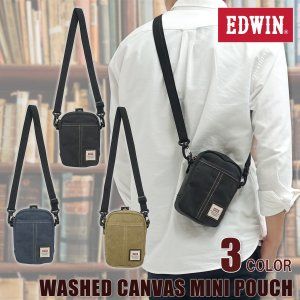 EDWIN(エドウイン)ウォッシュキャンバス ミニポーチ スマートフォン収納 ミニサイズ 小型 肩掛け モバイルポーチ 2WAY 帆布 g-fine