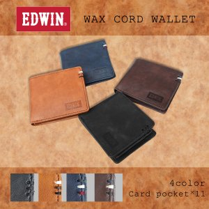 エドウイン EDWIN 財布 サイフ 折財布  メンズ レディース ワックスコード 二つ折財布 ウォレット プレゼント ギフト カード収納 小銭収納|g-fine