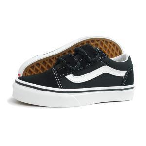 【KID'S(キッズ)】VANS(バンズ)OLD SKOOL V PS(オールド スクール V PS)(VN000VHE6BT)(ブラック/ホワイト) スニーカー 子供靴 黒 海外企画 通学 ベルクロ|g-fine