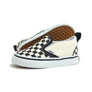 【BABY(ベビー)】VANS(バンズ)SLIP-ON V TD(スリッポン V TD)(VN0A34885GX)(ブラック/ホワイト) スニーカー 子供靴 海外企画 チェッカーボード|g-fine