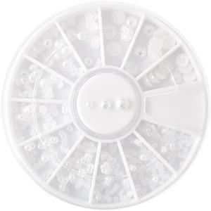 ◆セレクション ネイルストーン[パールホワイト×3サイズ] ケース付 【ネコポス対応】 ネイル用品の専門店 プロ用にも|g-nail