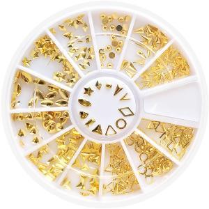 ◆セレクション ネイルスタッズ[ゴールド×12種]ケース付 【ネコポス対応】 ネイル用品の専門店 プロ用にも|g-nail