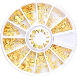 ◆セレクション ネイルスタッズ[サンドゴールド×12種]ケース付 【ネコポス対応】 ネイル用品の専門店 プロ用にも|g-nail