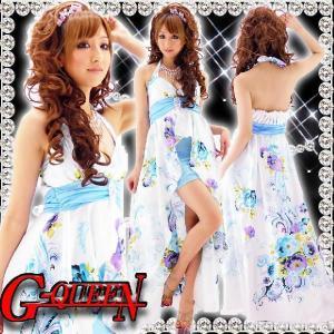 12034【新品】足見せペイズリーフラワーロングドレス☆青柄☆ブローチ付き前割れサテンHK|g-queen