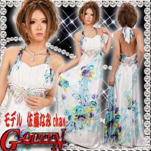12134【新品】前後蝶スパンペイズリーフラワーロングドレス☆青柄☆バストプリーツHK|g-queen
