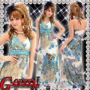 12244【キャバ】胸ビジュ和花柄シフォンロングドレス☆青☆豪華3段ジュエル付きHK【新品】|g-queen