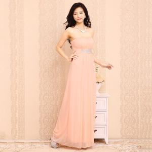 ロングドレス 胸下ビジュ刺繍 13007 サーモンピンク(薄オレンジ)|g-queen