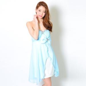 ミニドレス シフォンビーズ&ストーン刺繍リボン付き 13324 水色(青)|g-queen