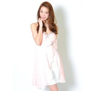 ミニドレス シフォンビーズ&ストーン刺繍リボン付き 13327 サーモンピンク(薄オレンジ)|g-queen