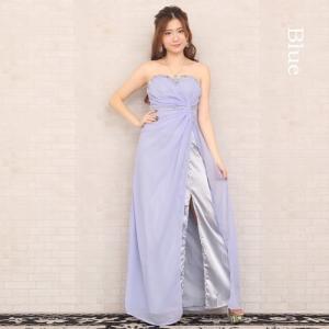 ロングドレス ストーンの刺繍 13384 水色(青)|g-queen