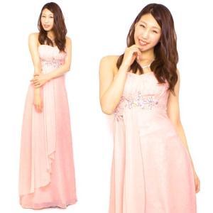 ロングドレス オーロラストーン刺繍 13417 サーモンピンク(薄オレンジ)|g-queen