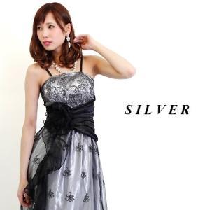 ロングドレス 銀ラメフラワーブラックレースフリルプリンセス 13421 銀(シルバー) HK|g-queen