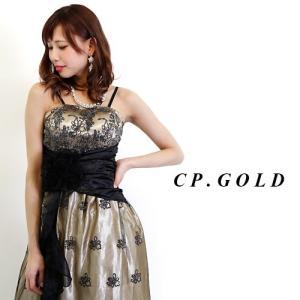 ロングドレス 銀ラメフラワーブラックレースフリルプリンセス 13425 金(シャンパンゴールド) HK|g-queen