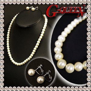 ネックレス イヤリング セット 20080 人工真珠 人工パール ACS|g-queen