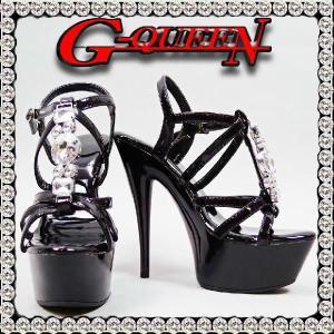 72512S【新品】厚底ストーンアクセサンダル(ミュール)☆黒☆【Sサイズ】ヒール15cmでモデルStyleに変身!!|g-queen