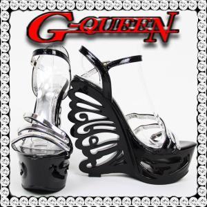 72602Sバタフライヒールサンダル☆黒(ブラック)☆【Sサイズ】シルバー3連金具風【7260】【HEEL】【サンダル ヒール ミュール パンプス】【 キャバ サンダル 】|g-queen