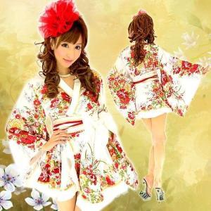 92751フリル着物ミニドレス白 花魁 和柄  HK|g-queen
