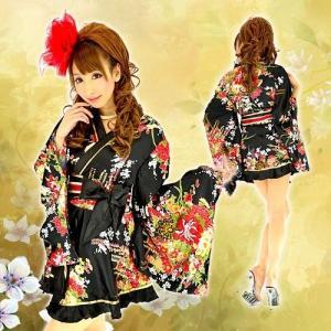 着物ドレス ミニ ドレス 和柄 花魁 フリル HK 92752 黒|g-queen