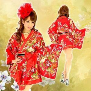 着物ドレス ミニ ドレス 和柄 花魁 フリル HK 92753 赤|g-queen