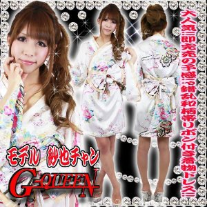 着物ドレス ミニ ドレス 和柄 花魁 帯リボンセット HK 93021 白|g-queen