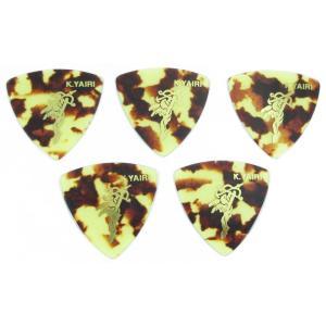 "K.Yairi PICK Triangle Red Shell ""Angel LOGO"" Medium K.ヤイリ ピック 5枚セット (赤べっ甲柄 おにぎり型 ミディアム)|g-sakai"