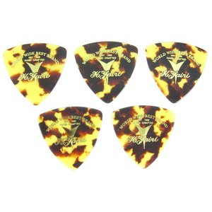 "K.Yairi PICK Triangle Brown Shell ""LOGO"" Medium K.ヤイリ ピック 5枚セット (茶べっ甲柄 おにぎり型 ミディアム)|g-sakai"