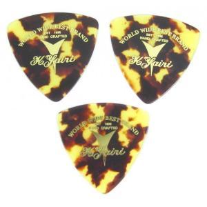 "K.Yairi PICK Triangle Brown Shell ""LOGO"" Medium K.ヤイリ ピック 3枚セット (茶べっ甲柄 おにぎり型 ミディアム)|g-sakai"