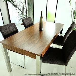 【デザイナーズ家具】天然ウォールナット×クロームシルバーレッグ 鏡面ハイグロスホワイト×クロームシルバーレッグ WA-T/C4  5点セット160テーブル+チェア4脚|g-shape