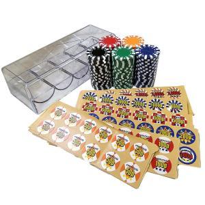 アモス 本格カジノ ポーカーチップ シール プラケース付 黒・青・赤・緑・黄色 5色各20枚の計100枚 AMOS CHIP セット g-store1