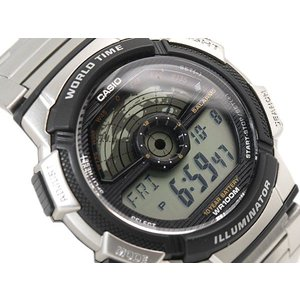 CASIO WORLD TRAVELER カシオ ワールドトラベラー デジタル腕時計 逆輸入海外モデル シルバー ブラック AE-1100WD-1A AE-1100WD-1A