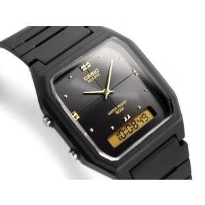 CASIO ANA-DIGI アナデジ ユニセックス腕時計 ブラック×ゴールドダイアル ウレタンベルト AW-48HE-1AV