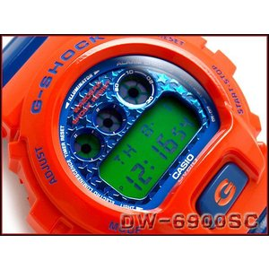 CASIO G-SHOCK カシオ Gショック ジーショック Crazy Colors クレージーカラーズ デジタル 腕時計 オレンジ ブルー グリーン DW-6900SC-4DR|g-supply