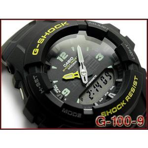 CASIO G-SHOCK カシオ Gショック 逆輸入海外モデル ベーシック アナデジ 腕時計 ブラック イエロー G-100-9CMDR G-100-9|g-supply