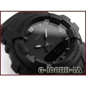 G-SHOCK Gショック ジーショック 逆輸入海外モデル CASIO アナデジ 腕時計 マット オールブラック G-100BB-1ADR G-100BB-1A|g-supply