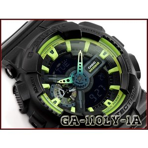 G-SHOCK Gショック 逆輸入海外モデル CASIO カシオ アナデジ 腕時計 ブラック グリーン GA-110LY-1ACR GA-110LY-1A g-supply