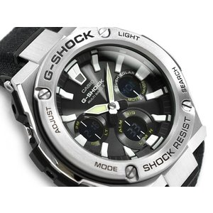 G-SHOCK Gショック Gスチール G-STEEL 逆輸入海外モデル カシオ 電波ソーラー 腕時計 シルバー ブラック GST-W130C-1A