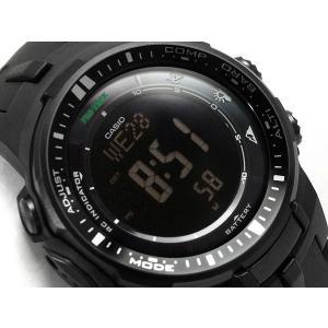 bae90eb0c8 CASIO PRO TREK PROTREK カシオ プロトレック 電波ソーラー デジタル 腕時計 オールブラック PRW-3000 ...