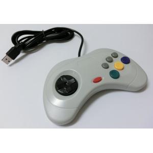 PC サターン6ボタン型USBコントローラー(ホワイト)|g-take-com