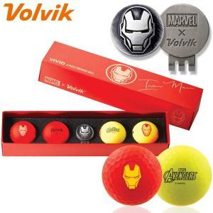 数量限定 マーベル×ボルビック ビビッド アイアンマン ゴルフボール 4球+マーカーセット Volvik ヴォルビック USAモデル|g-zone